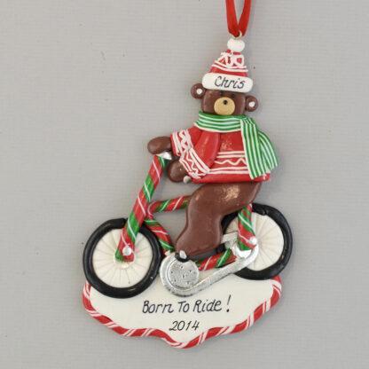 Biking Bear Personalized Christmas Ornaments