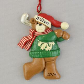 Golfing Bear Personalized Christmas Ornaments