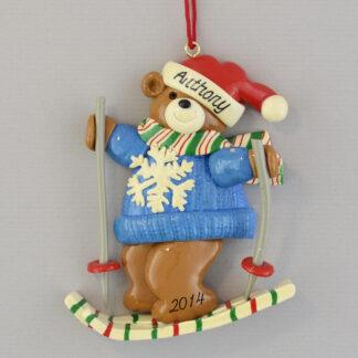 Skiing Bear Personalized Christmas Ornaments