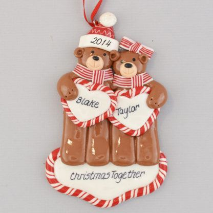 Bear Couple personalized Christmas Ornaments