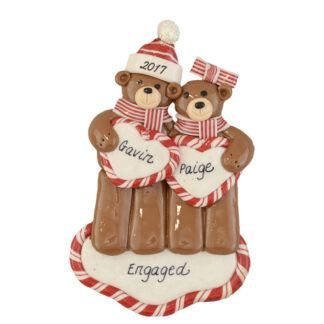 Newly engaged bears personalized christmas ornaments