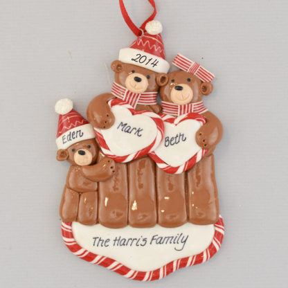 Bear Couple One Baby personalized christmas Ornaments