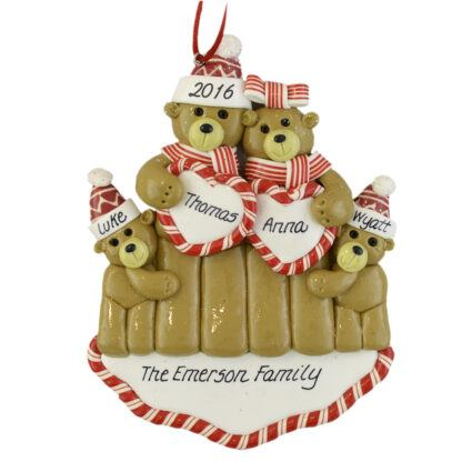 Bear Couple Two Babies personalized christmas Ornaments
