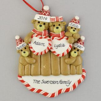 Bear Family with Three Children Personalized Christmas Ornaments