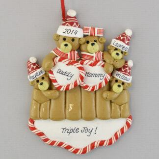 Bear Family with Triplets Personalized Christmas Ornaments