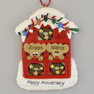 Personalized Anniversary Couple in House christmas Ornaments