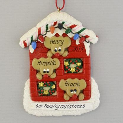 Personalized Reindeer (3) in a House christmas Ornaments