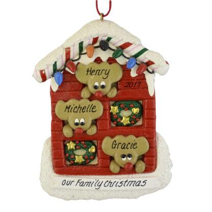 Reindeer (3) in a House personalized christmas Ornaments