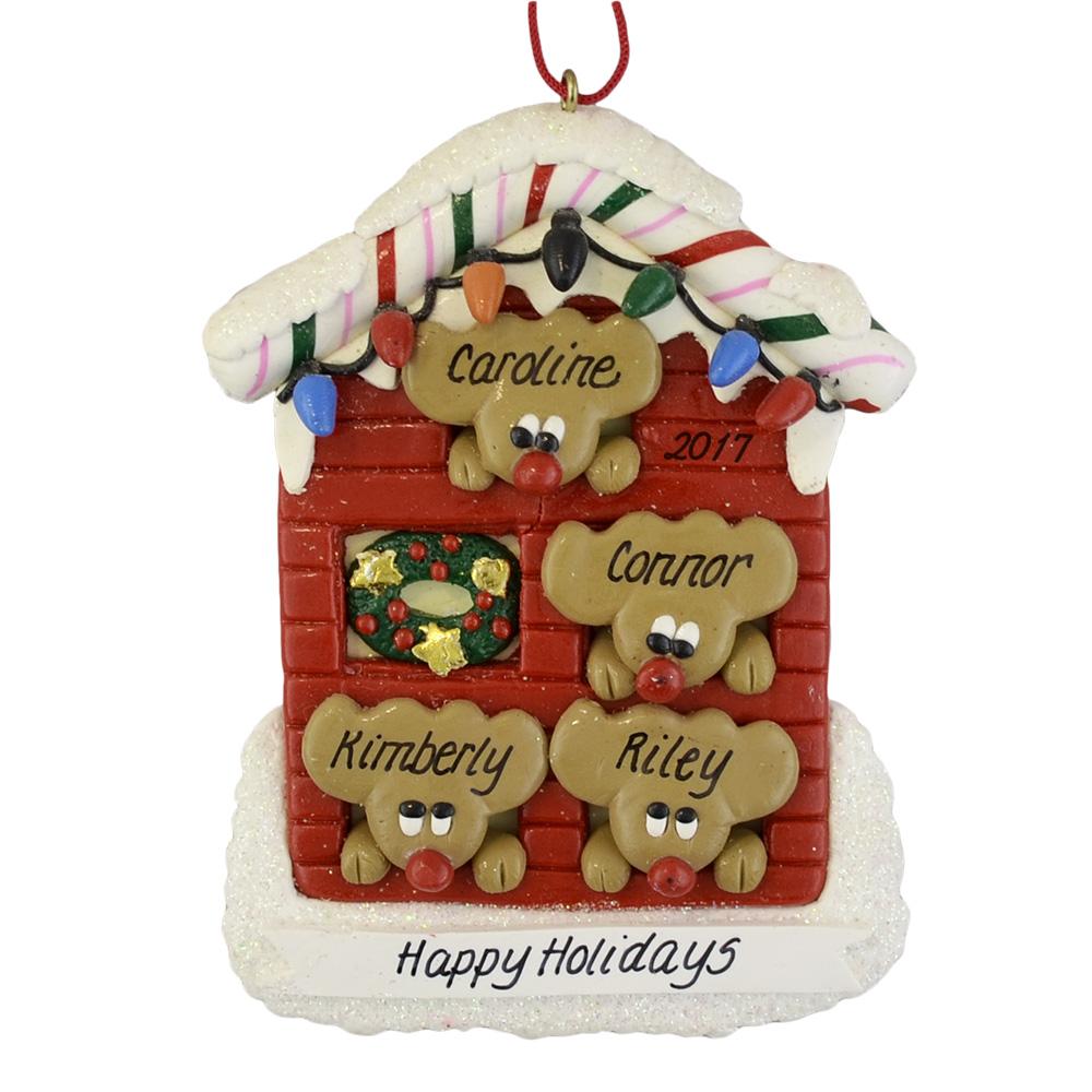 Custom Christmas Ornaments.Four Reindeer In House Custom Christmas Ornament