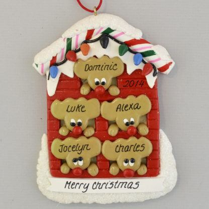 Personalized Reindeer (5) in a House christmas Ornaments