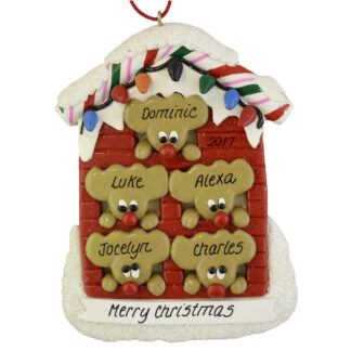 Reindeer (5) in a House personalized christmas Ornaments