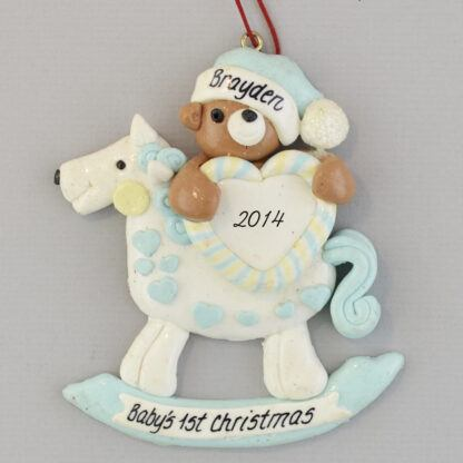 Rocking Horse for Baby Boy's First Christmas personalized Ornaments
