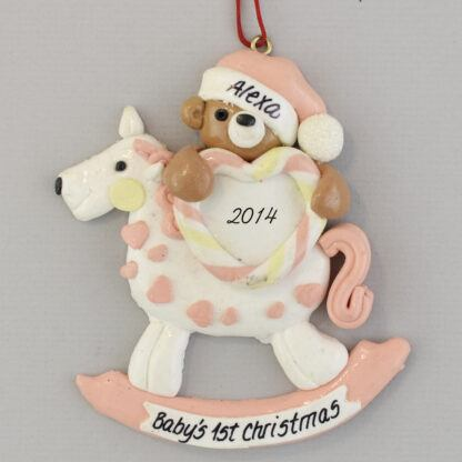 Rocking Horse for Baby Girl's First Christmas personalized Ornaments