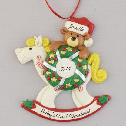 A Baby's First Christmas Rocking Horse personalized ornaments