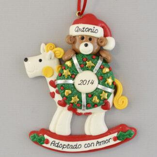 Adopted with Love Personalized christmas Rocking Horse Ornaments
