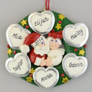 Personalized Wreath (6) Hearts personalized christmas Ornaments