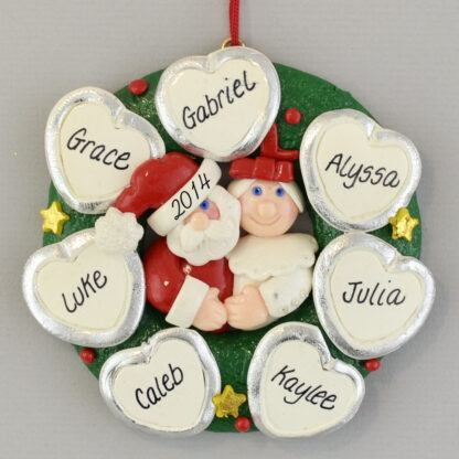 Personalized Wreath (7) Hearts personalized christmas Ornaments