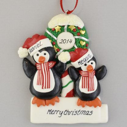 Penguins (2) with a Wreath personalized christmas Ornaments