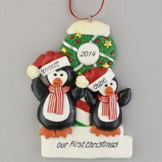 Penguin Partners (2) with Wreath personalized Christmas Ornaments