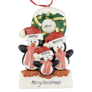 Penguins (3) with a Wreath personalized christmas Ornaments