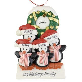Penguins (4) with Wreath personalized christmas Ornaments