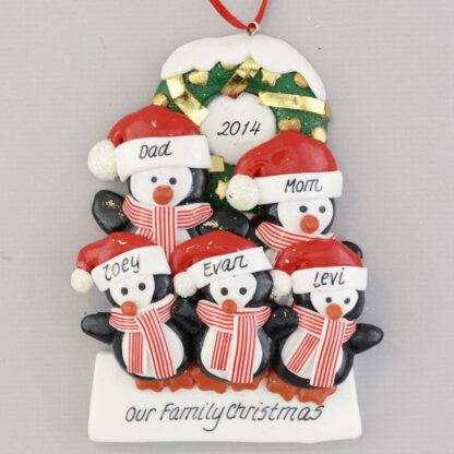 Penguins (5) with a Wreath personalized christmas Ornaments