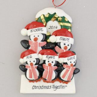 Penguin Partners with 3 Children Personalized Christmas Ornaments