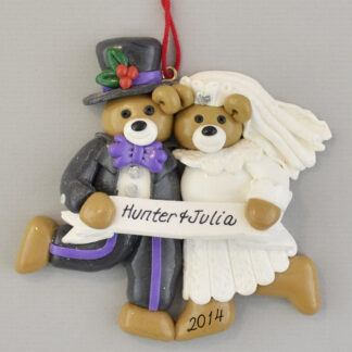Just Married Bear Bride and Groom Wedding Personalized Christmas Ornaments