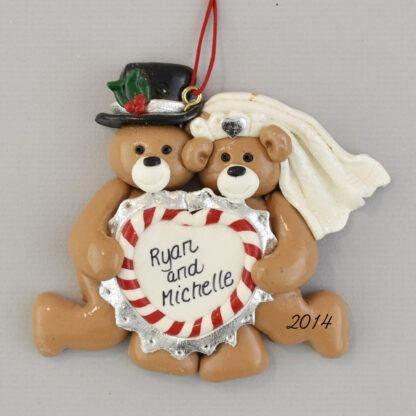 Bride and Groom Bears with Heart Wedding Personalized Christmas Ornaments