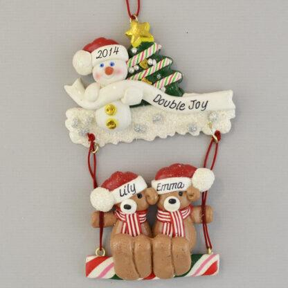 Twin Bears on a Swing personalized christmas Ornaments