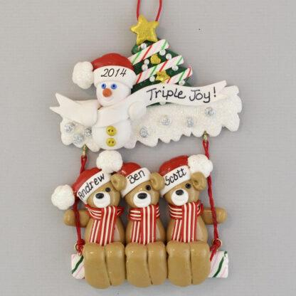 Triplet Bears on a Swing Personalized Christmas Ornaments