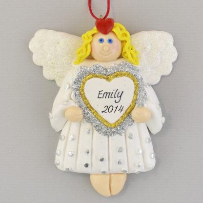 Angel with Heart Personalized Christmas Ornaments