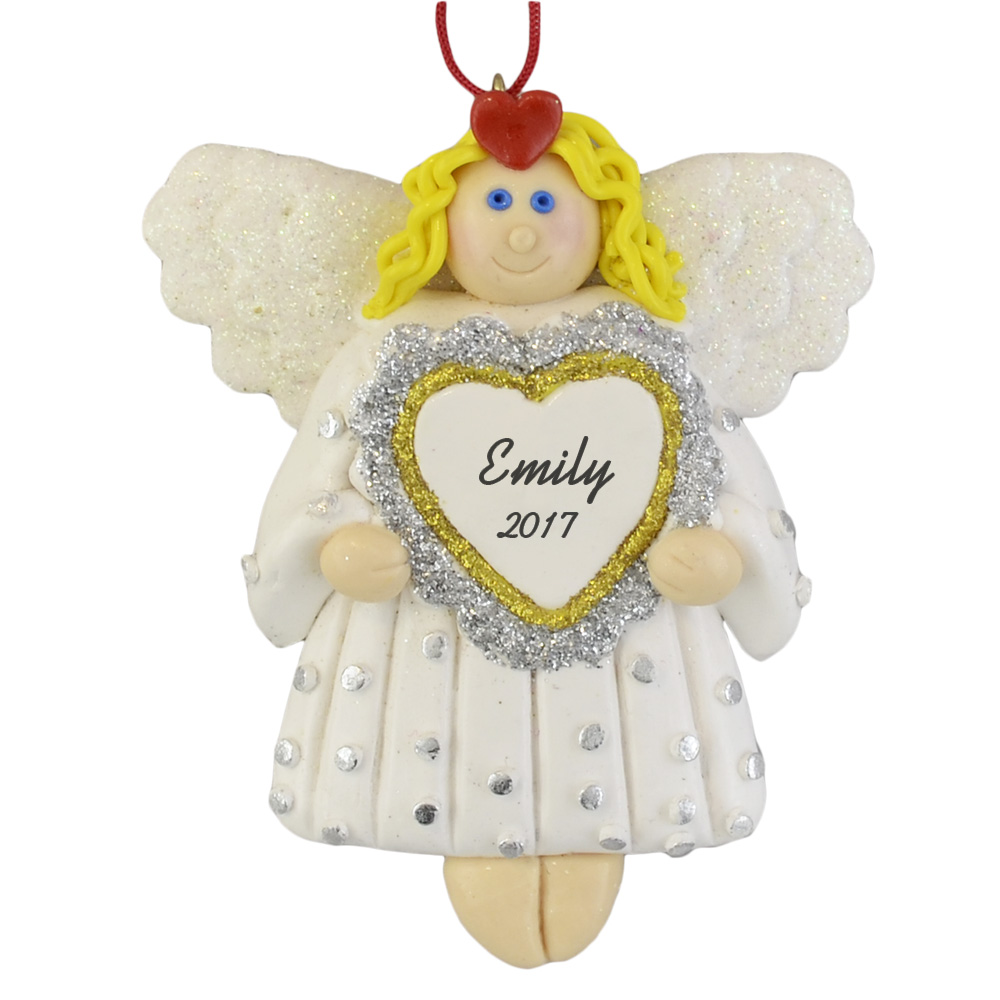 angel with heart personalized claydough ornament