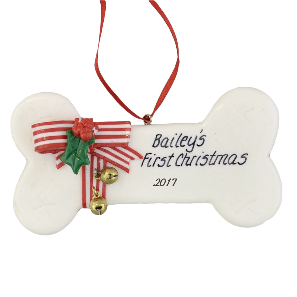 Dogs First Christmas Ornament.White Dog Bone With Bells Christmas Ornament