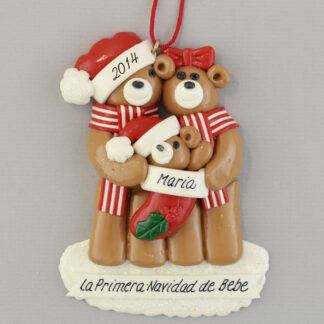 Bear Family (3) Feliz Navidad personalized christmas Ornaments
