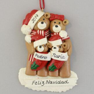 Bear Family (4) Feliz Navidad personalized christmas Ornaments