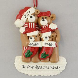 Grandparents of Two Babies in Stocking personalized christmas Ornaments