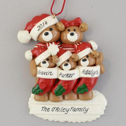 Bear Family of Five Personalized Christmas Ornaments