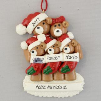 Bear Family (5) Feliz Navidad personalized christmas Ornaments