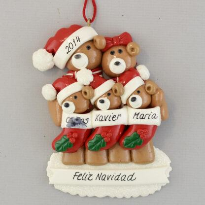 Bear Family (5) Feliz Navidad personalized christmas Ornaments