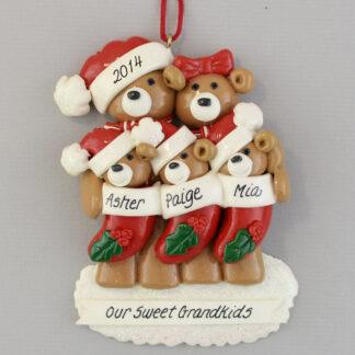 Grandparents with Three Babies in Stockings personalized christmas Ornaments