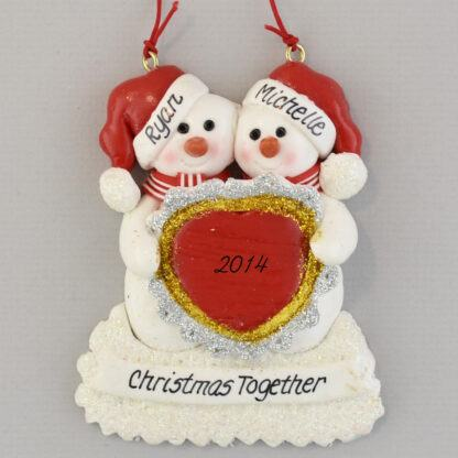 Snow Couple Heart Personalized Christmas Ornaments