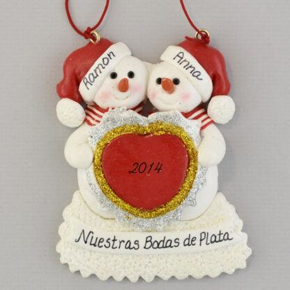 Our 25th Anniversary Feliz Navidad personalized christmas Ornaments