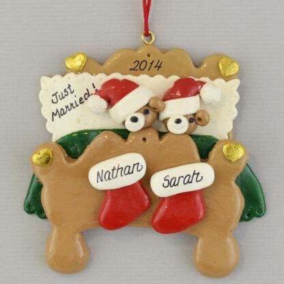 Two Bears in Bed personalized christmas Ornaments