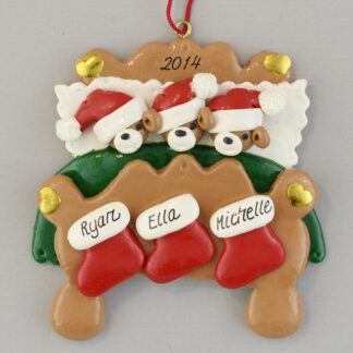 Bear Family (3) in Bed Personalized Christmas Ornaments