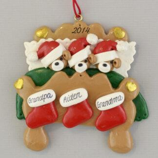 Grandparents in Bed with One Grandchild Personalized Christmas Ornaments