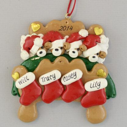 Bear Family (4) in Bed Personalized Christmas Ornaments