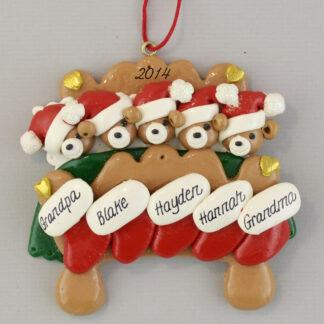 Grandparents in Bed with Three Grandchildren Personalized Christmas Ornaments