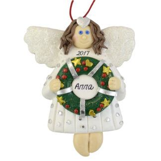 Angel with Wreath Personalized Christmas Ornaments