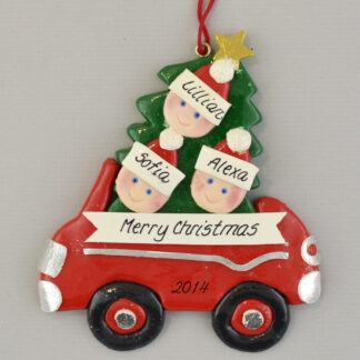 Partner's Family of 3 in Car personalized Christmas Ornaments